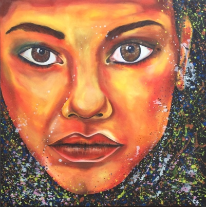 "ABOUT: Imperfections Take pride in your scars 36"" x 36"" Oil on Canvas"