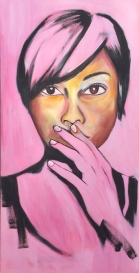 "DISCERNMENT so that I speak no ill words against anyone 24"" x 48"" RESERVED Oil on Canvas"